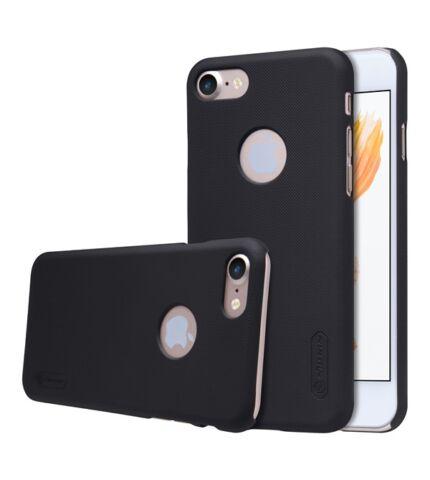 Nillkin Super Frosted hátlap tok Apple iPhone 8/7, fekete + ajándék kijelzővédő fólia (logo kivágással)