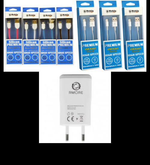 Travel adapter hálózati fehér gyors-töltő 2A + MicroUSB v. iPhone kábel