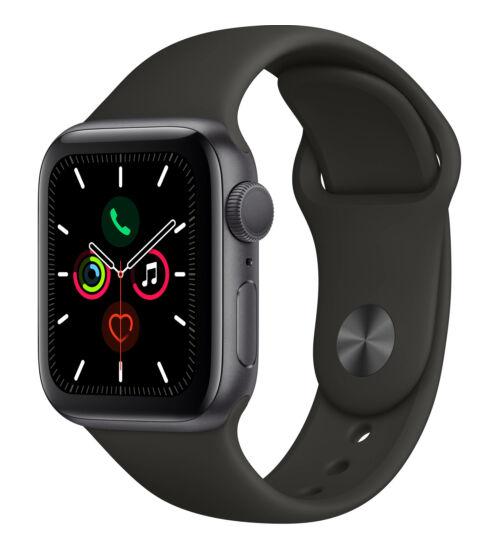 Apple Watch Series 5 GPS 44mm Aluminium Asztroszürke tok, fekete pánt, 1 év Gyártói garancia