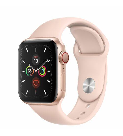 Apple Watch Series 5 GPS 44mm Aluminium Arany tok, rózsaszín pánt, 1 év Gyártói garancia, EKG