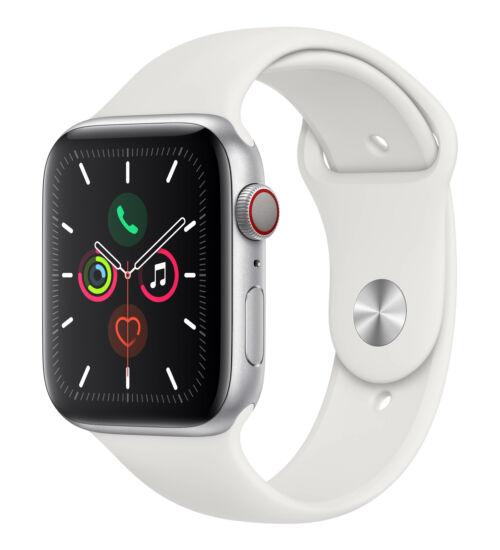 Apple Watch Series 5 GPS 44mm Aluminium Ezüst tok, fehér pánt, 1 év Gyártói garancia, EKG