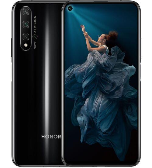 Honor 20 128GB Dual SIM fekete, Kártyafüggetlen, 2 év Gyártói garancia