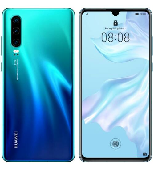 Huawei P30 128GB Dual SIM, auróra kék, Kártyafüggetlen, 2 év Gyártói garancia