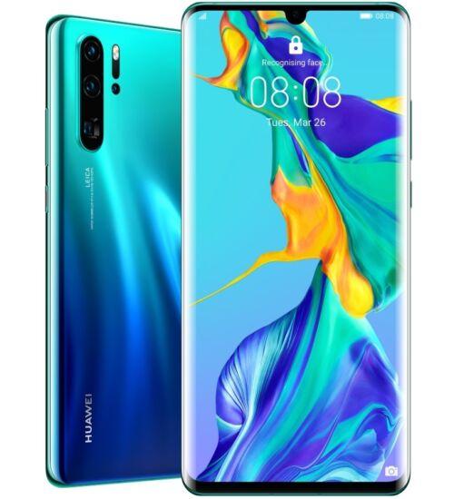 Huawei P30 Pro 256GB Dual SIM, aurora kék, Kártyafüggetlen, 2 év Gyártói garancia