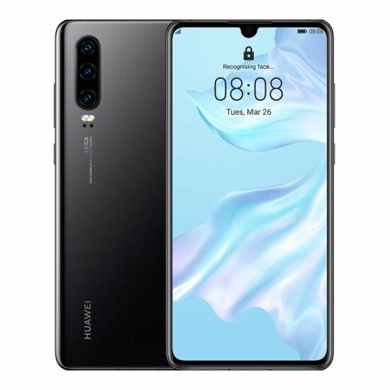 Huawei P30 128GB Dual SIM, fekete, Kártyafüggetlen, 2 év Gyártói garancia