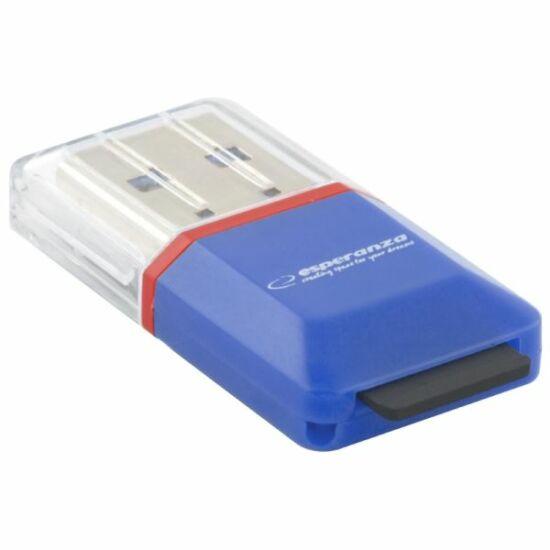 Esperanza USB 2.0 microSD kártyaolvasó kék (EA134B)