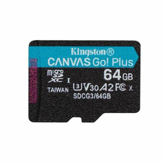 64GB microSDXC Kingston Canvas Go! Plus UHS-I U3 V30 A2  (SDCG3/64GBSP)